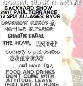 december suicide, mother superior, tempest, disposed, society, chaotic cabal, the howl