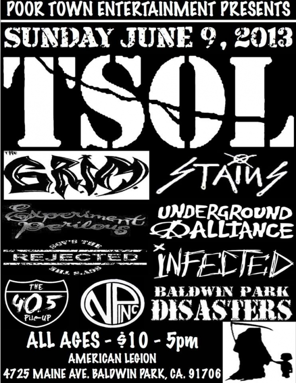 TSOL, THE GRIM, THE STAINS, EXPERIMENT PERILOUS, BALDWIN PARK DISASTERS @ BP American Legion