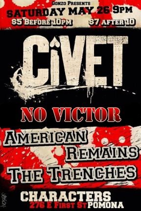 Gonzo present Civet, No Victor, American Remains, The Trenches @ Characters Sports Bar